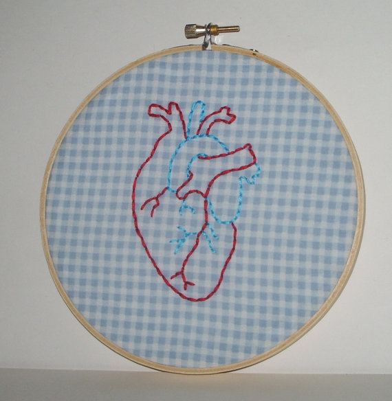 Anatomically Correct Heart Embroidery Hoop Wall Art