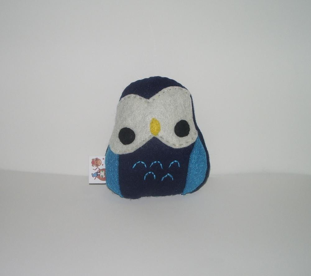 Kawaii Owl Plushie Navy and Turquoise